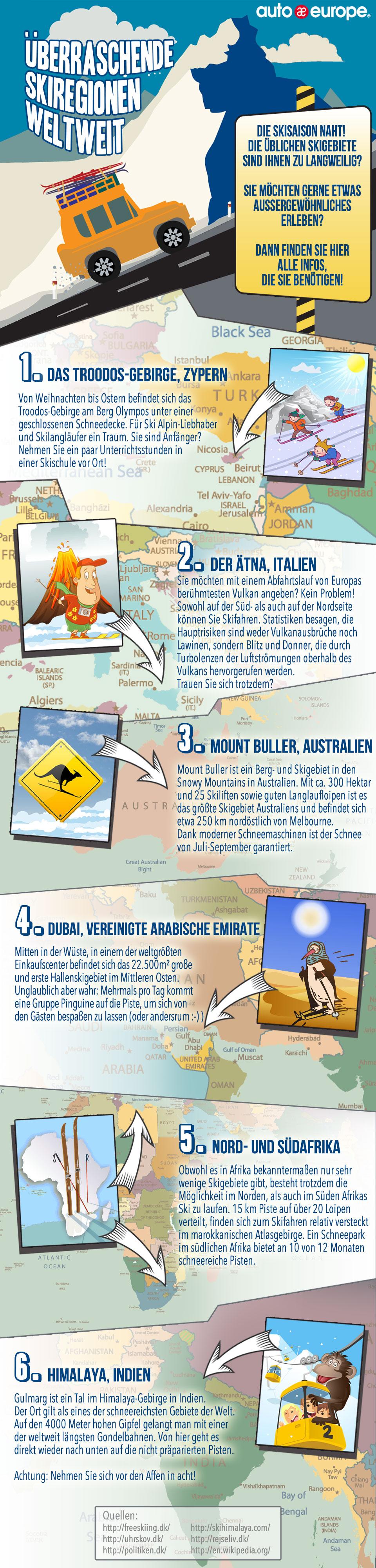 Auto Europe Mietwagen - Besondere Skiregionen