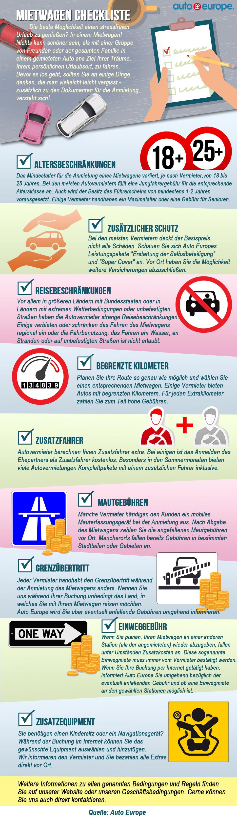 Mietwagen Checkliste