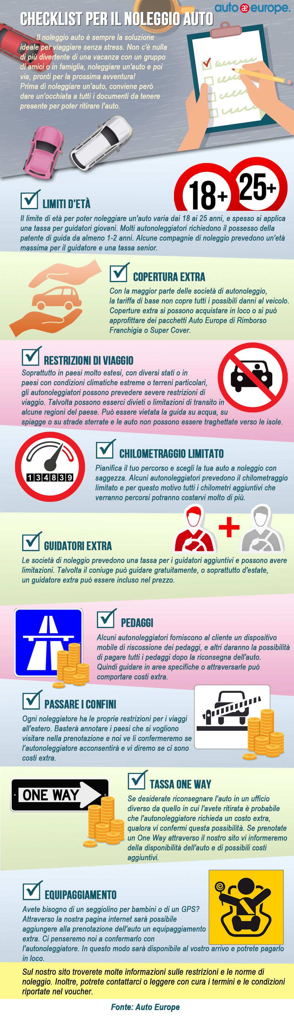 Infografica - Check list per il noleggio auto