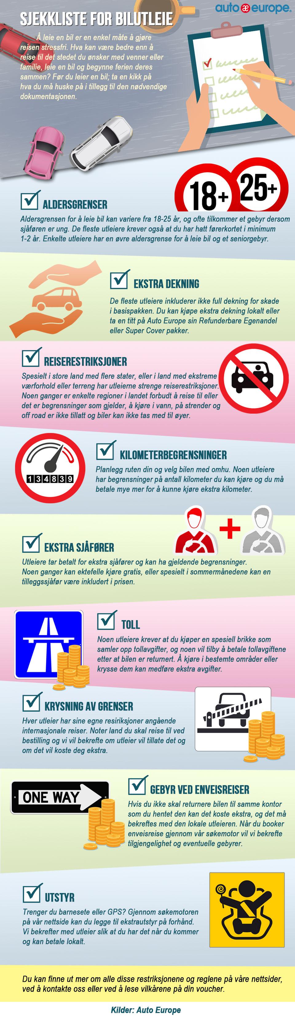 Sjekkliste for bilutleie