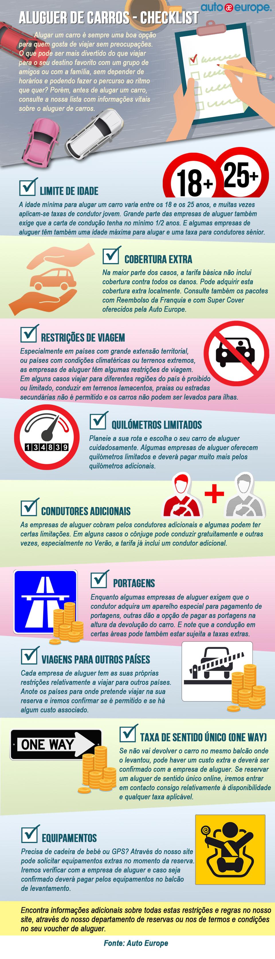 Infográfico: Aluguer de carros checklist