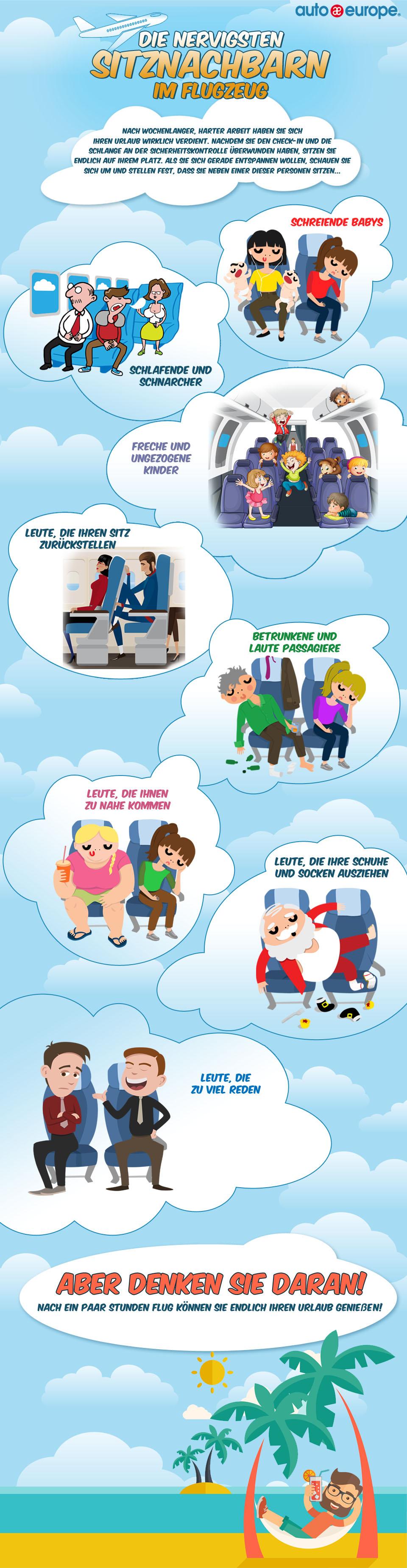 Nervige Sitznachbarn im Flugzeug