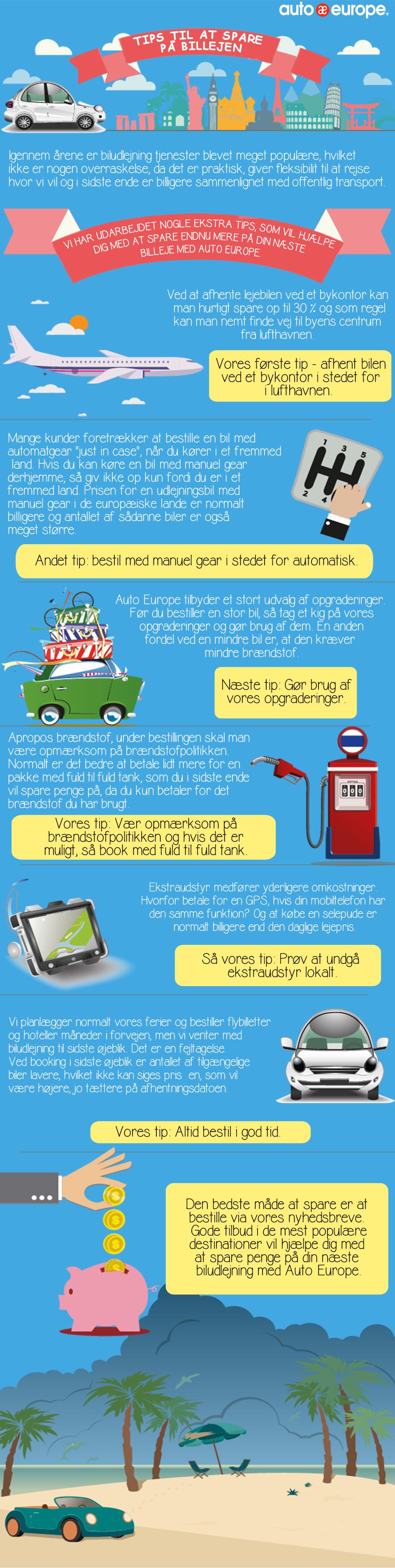 Infografik - Tips til at spare på biludlejning