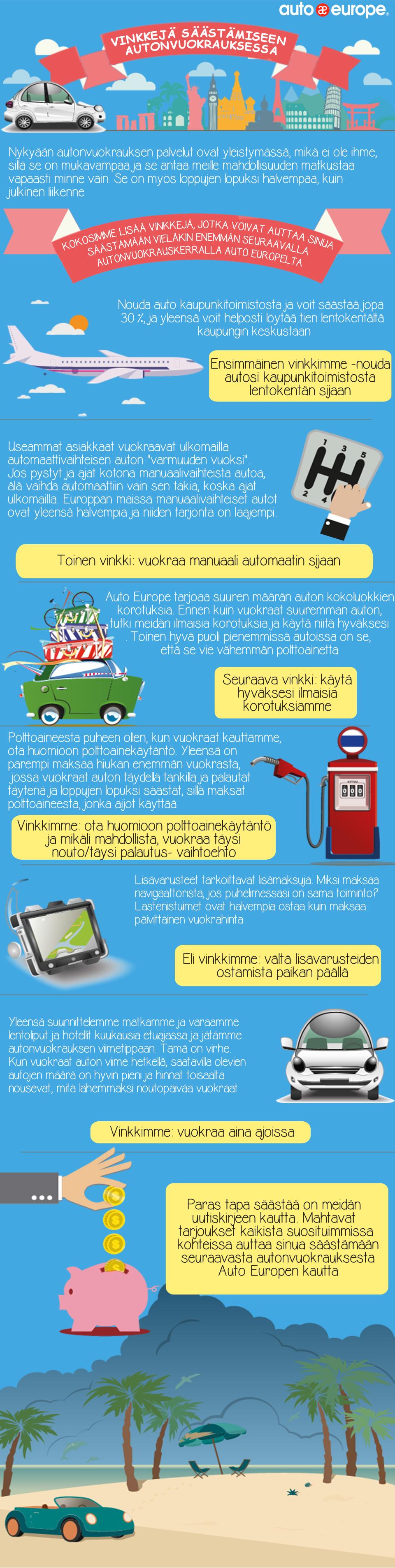 Infografiikka - Vinkkejä säästämiseen autonvuokrauksessa