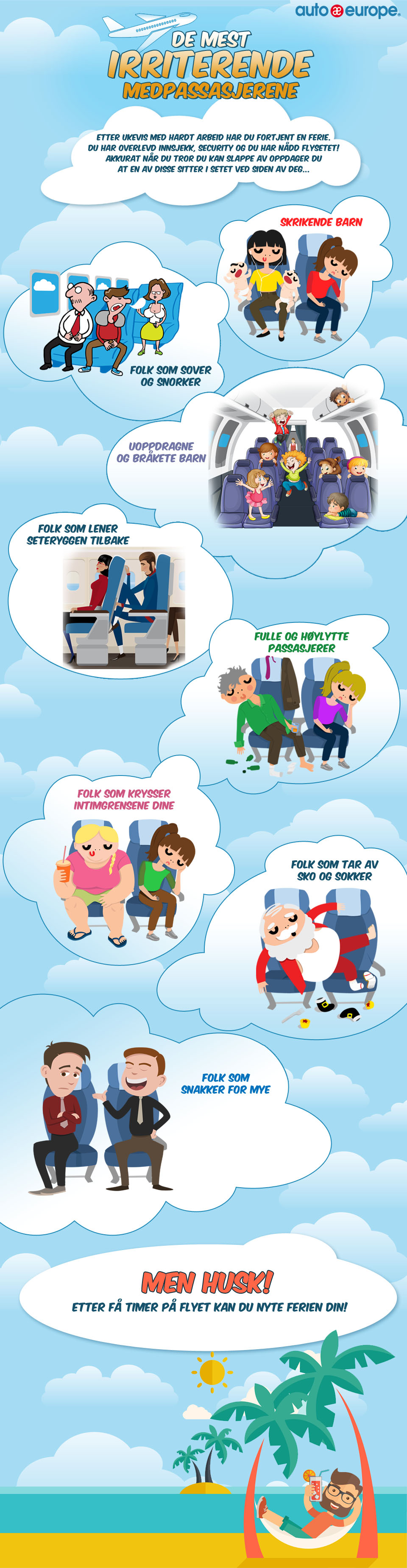 Infographic - De verste medpassasjerene på fly
