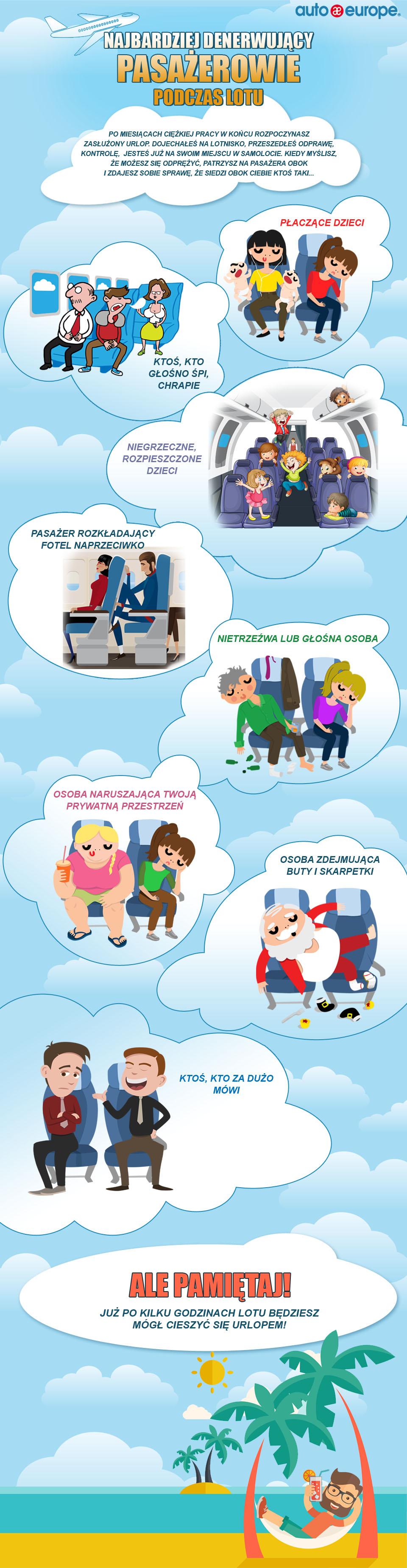 Co nas najbardziej denerwuje na pokładzie samolotu?