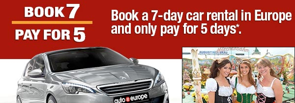 Book a 7-day car rental in Europe and only pay for 5 days.