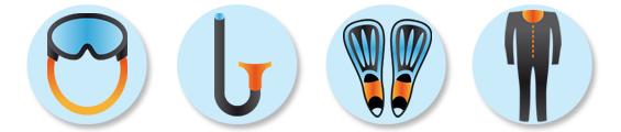 Equipment - Mask, snorkel, finsand wetsuit