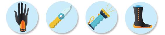 Neopreenikäsineet, veitsi, lamppu, sukelluskengät