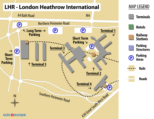 Översiktskarta London Heathrow flygplats