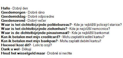 Woordenlijst Tsjechië