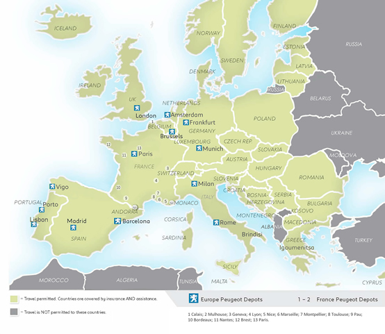 Peugeot Leasing na Europe - Centros Peugeot