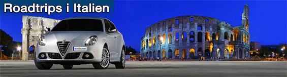 En vit Alpha Romeo framför Kolosseum eller Flaviska amfiteatern i Rom, italiens huvudstad
