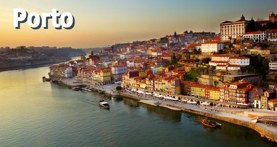 Billede i byen Porto taget fra broen Dom Luis