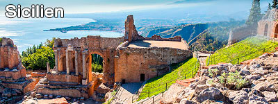 Bergsruiner på Sicilien