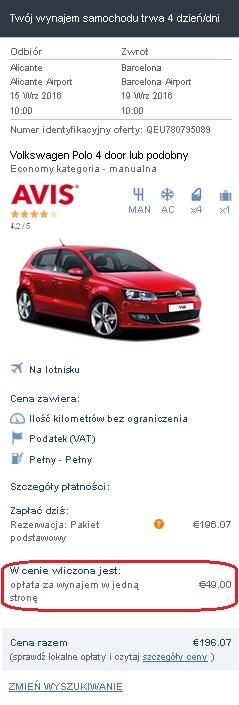 Opłata wliczona w cenie Auto Europe