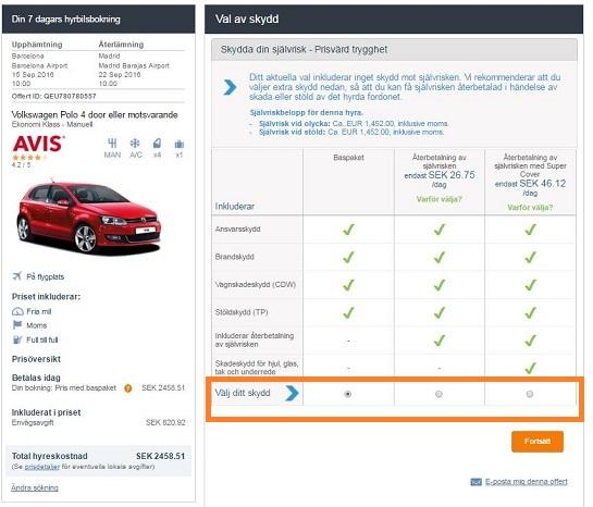 Exempel på förslag av olika skydd som erbjuds på vår hemsida för din hyrbil