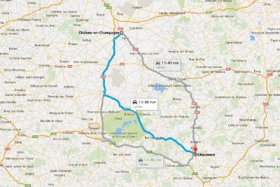 Mapa de Châlons-en-Champagne a Chaumont