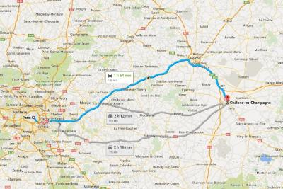 Paris til Chalons en Champagne Map