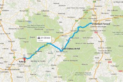 Clermont-Ferrad to Tulle Route