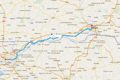 Loire Valley Road Trip Overview Nantes to Angers Map