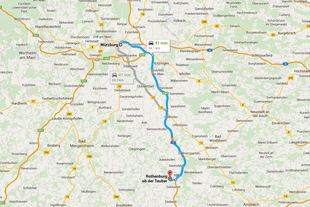Romantisk Road Trip Rothenburg Dag 3 Map