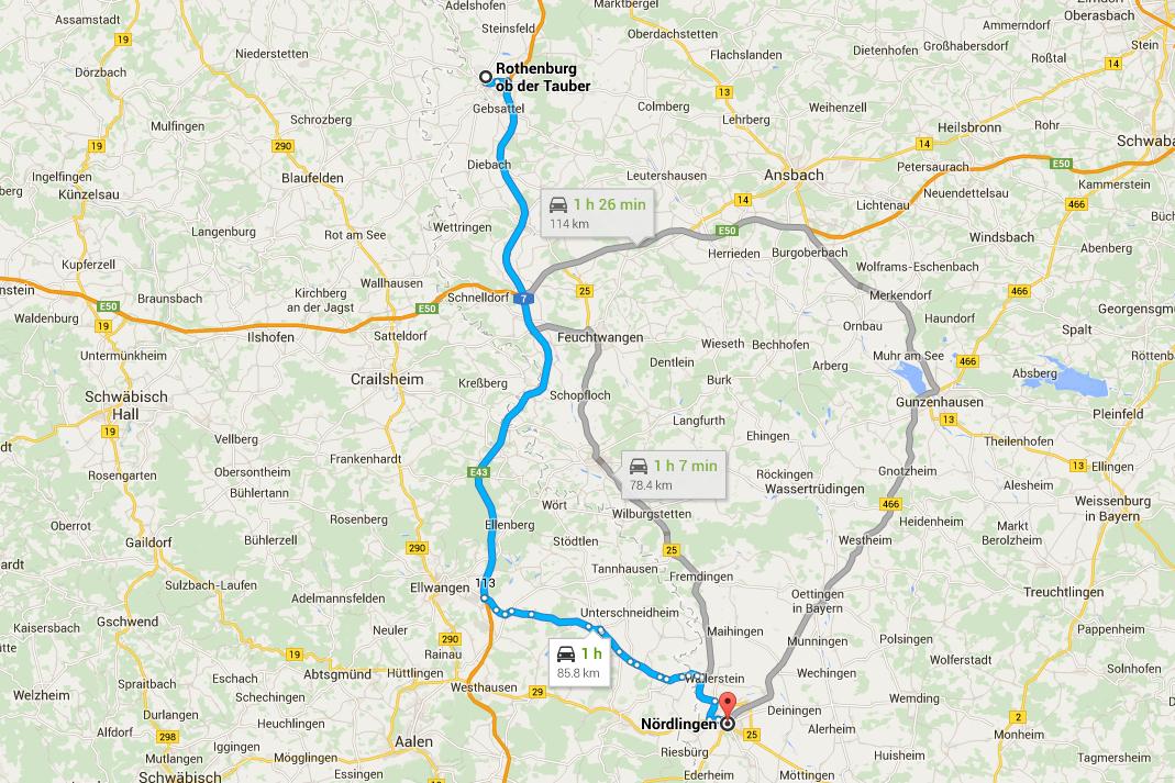 Romantisk Road Trip Nördlingen Day 4 Kort