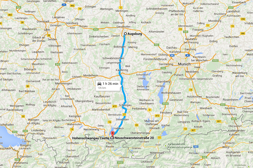 Romantisk Road Trip Dag 6 Slot Hohenschwangau Map
