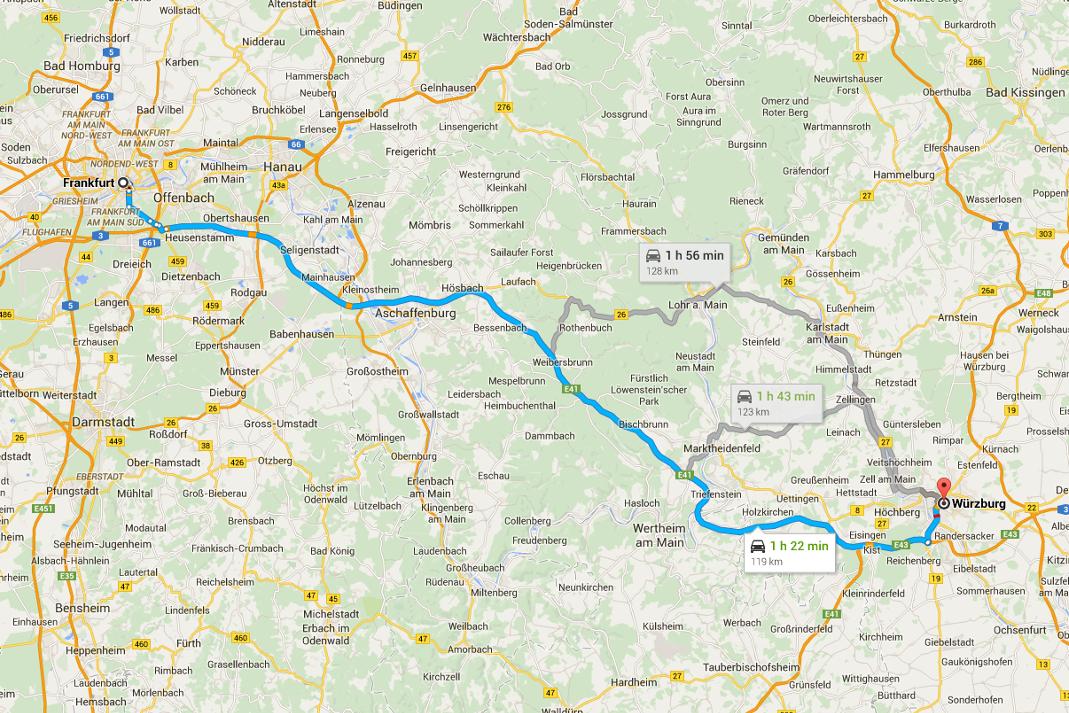 Karta över roadtrip genom romantiska vägen från Frankfurt till Würzburg