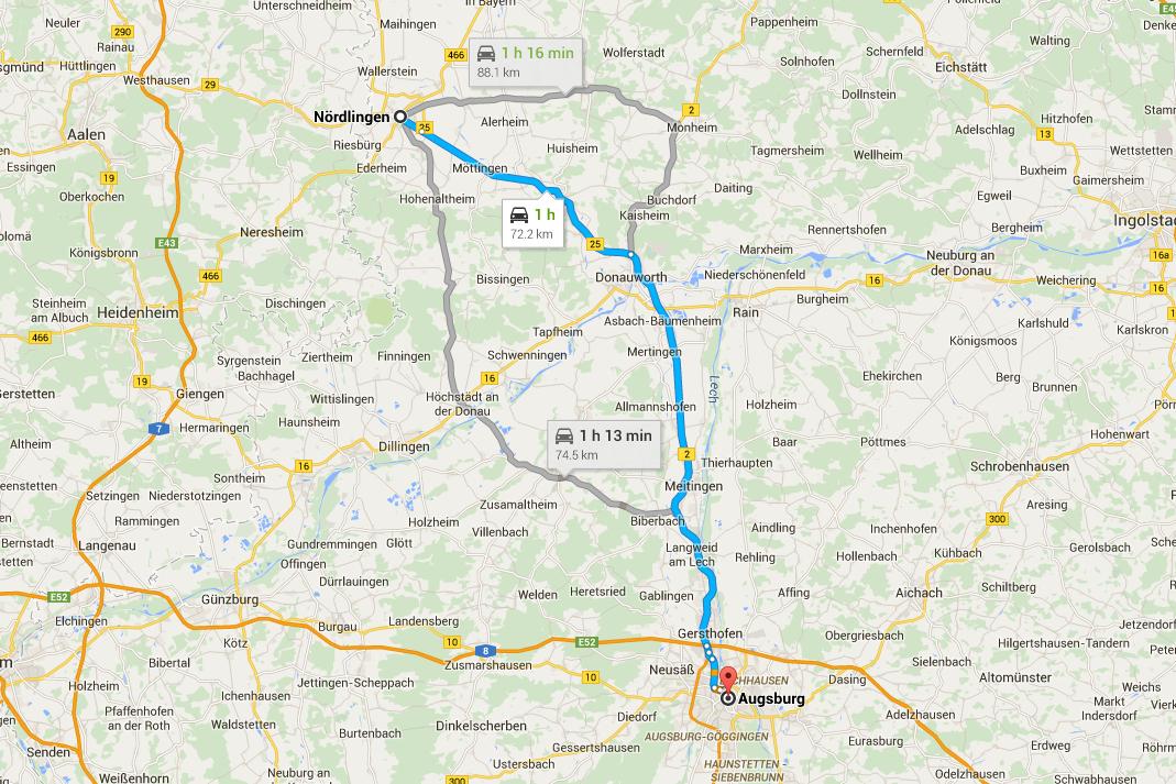 Karta över roadtrip genom romantiska vägen från Nördlingen till Augsburg
