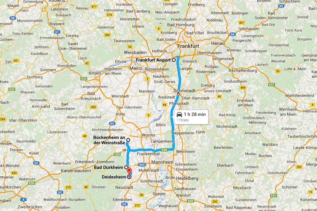 Viaggio sulla strada tedesca dei vini - Mappa da Francoforte