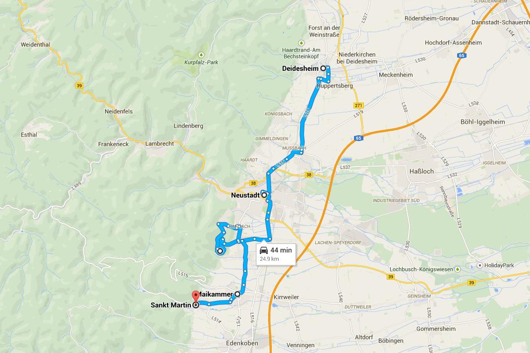Itinerario da Deidesheim a Sankt Martin