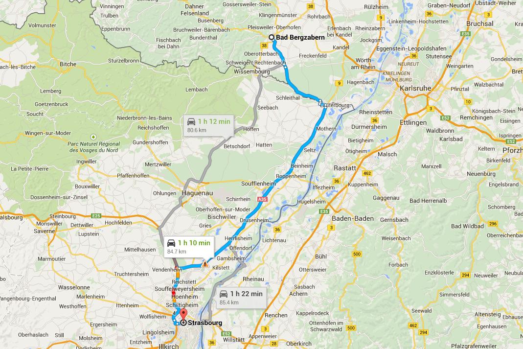 Mappa Road Trip Germania - Direzione Strasburgo