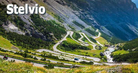Italië roadtrip planner Stelvio knop