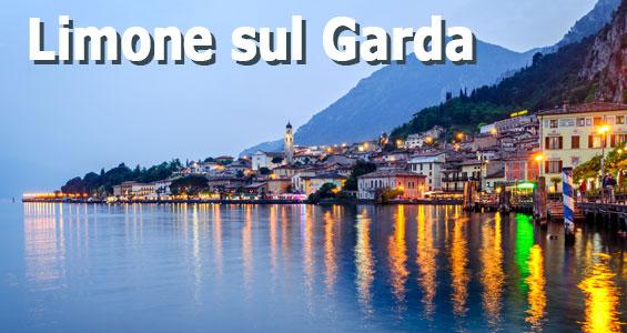 Utsikt över taken i Limone sul Garda och Gardasjön