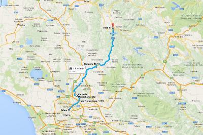 Автопутешествие по Италии Карта Риети