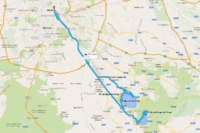 Italia kiertomatka Rooman kartta