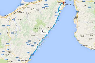 Mapa Taormina - Mesyna