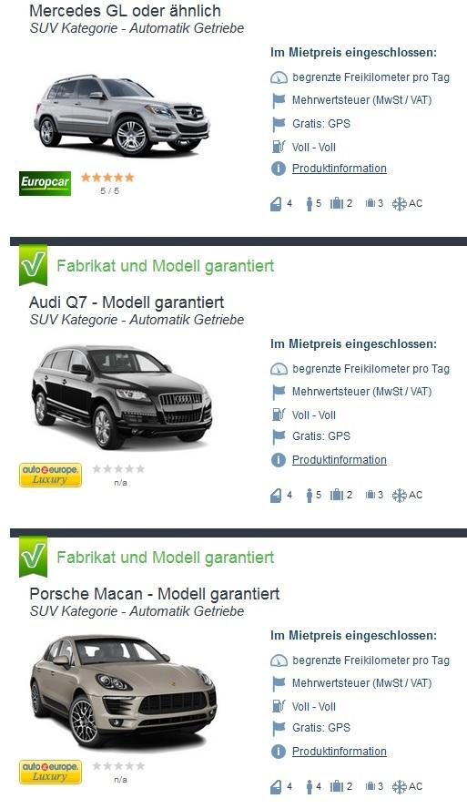 Mietwagen SUV