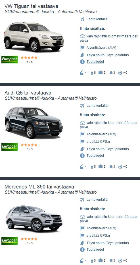 Autovuokraamo SUV