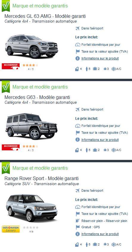 Location voiture catégorie SUV