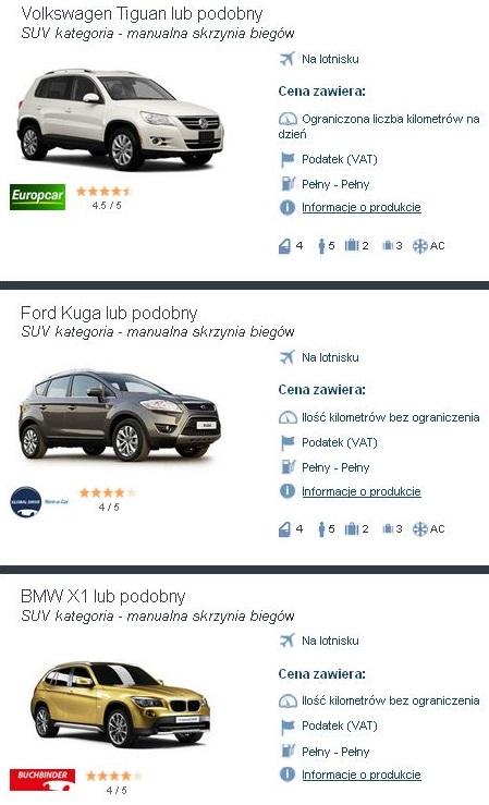 Wynajem samochodów SUV