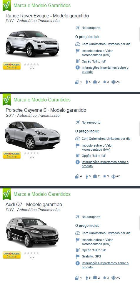 Aluguel de carros - SUV