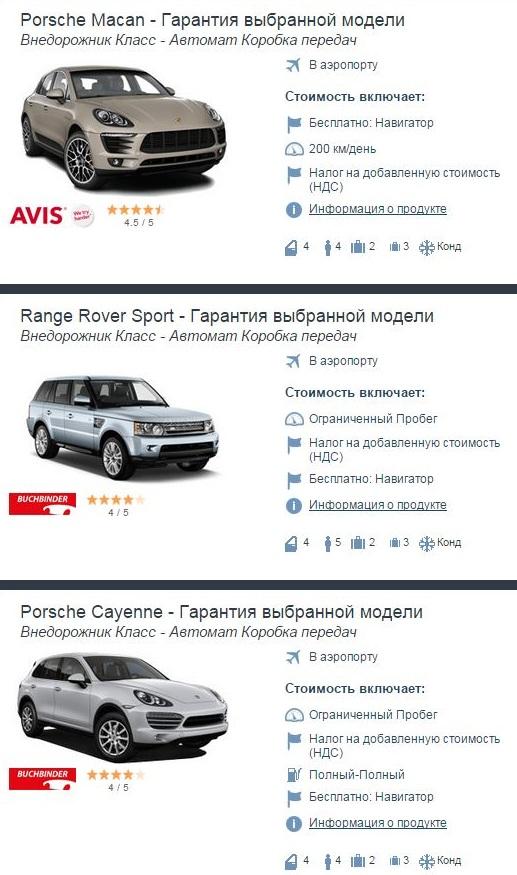 Прокат SUV