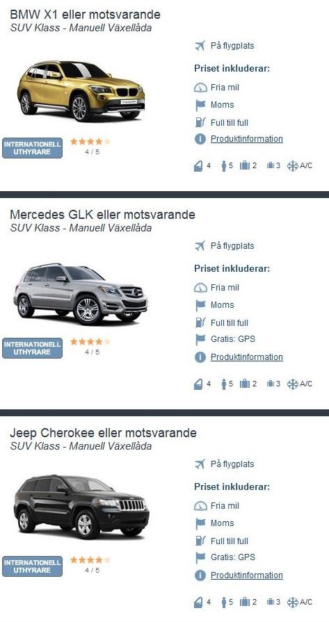 Exempel på olika, garanterade SUV-modeller i vår bokningsmotor