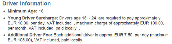 Minimum Age for Car Rental Under 25