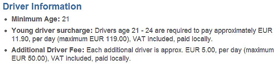 Car Rental Age Under 25