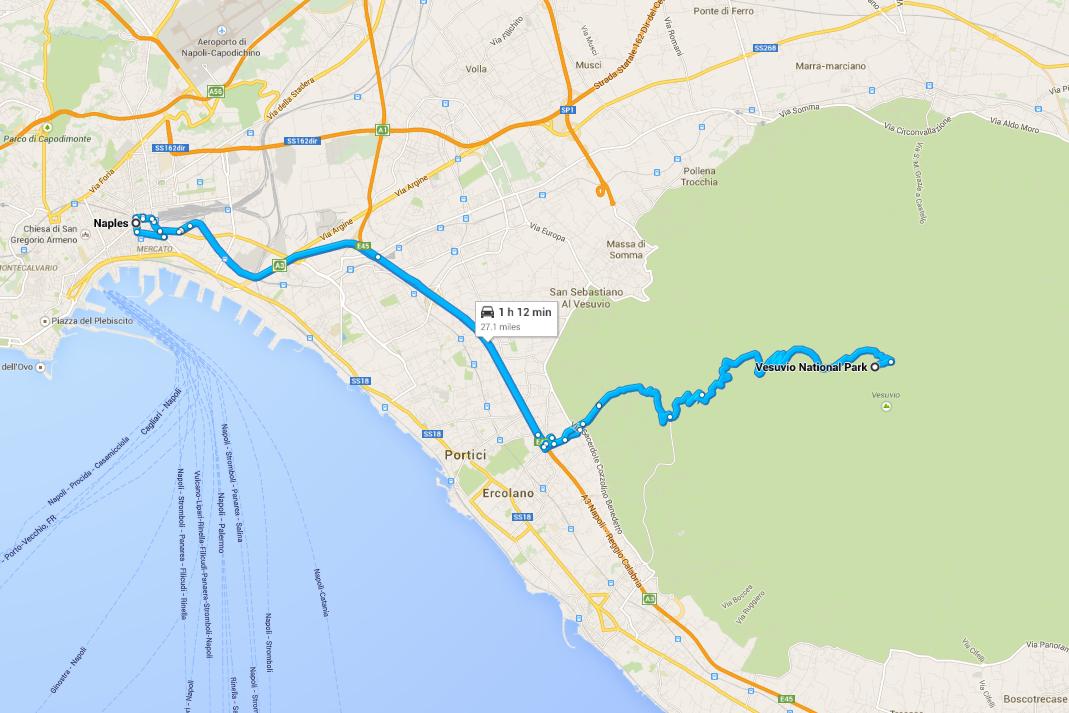 Italy Road Trip Naples Vesuvio Scenic Drive Map