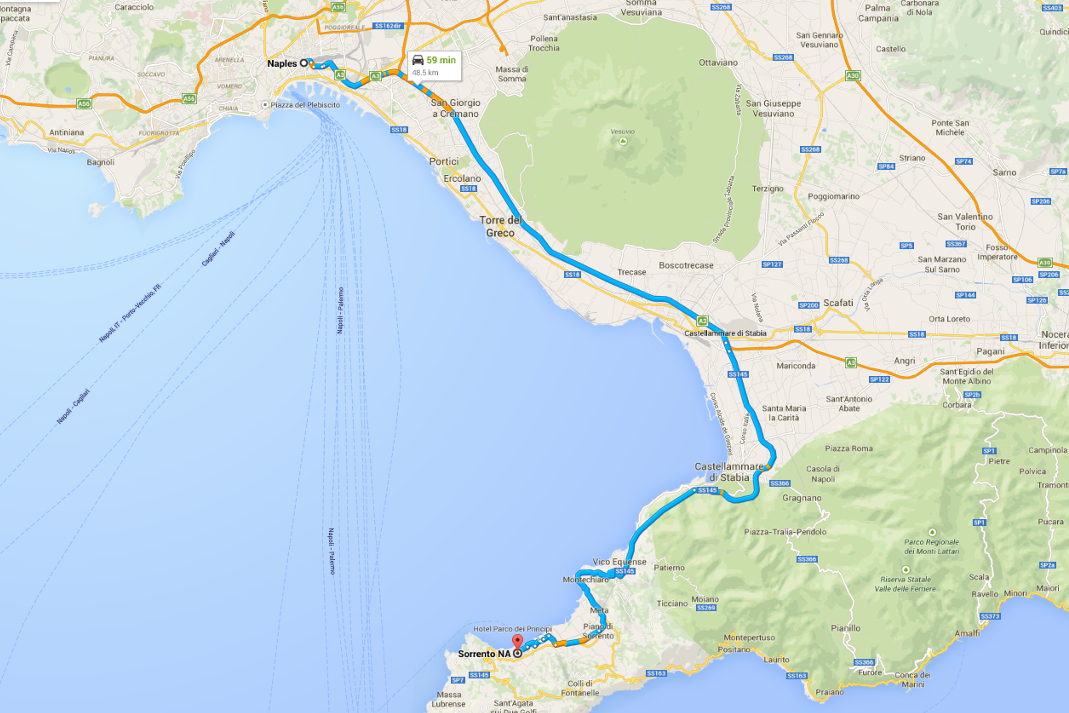 Italy Road Trip Sorrento Scenic Drive Map