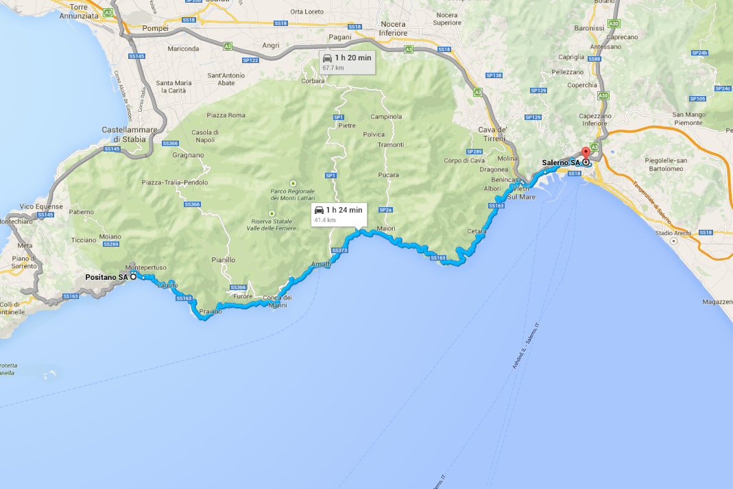 Italy Road Trip Salerno Scenic Drive Map